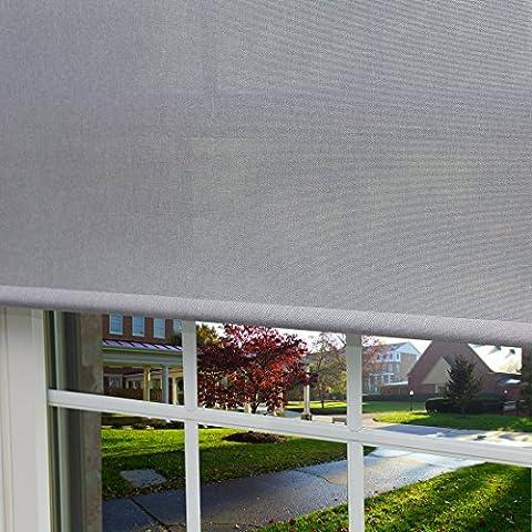 Zhihong Premium Aspect lin Roller Window Shade Rideau, gris, 34