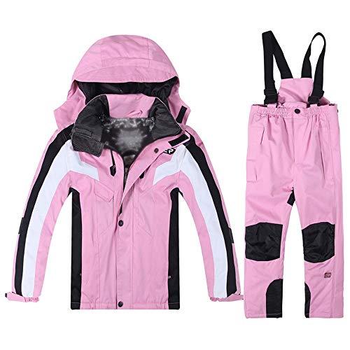 Kinder Winter Schneeanzug wasserdicht Outdoor Wasserdicht Romper Kinder Skianzug mit Schnee Ski Bib Pants Ski Anzüge Jacken Mäntel for Unisex für Camping bei kaltem Wetter ( Farbe : Rosa , Größe : M )