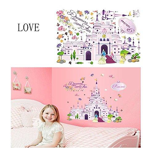 Kingnew Prinzessin Märchen Burg Wandaufkleber, Cartoon Entfernbare Wandtattoos für Kinder Schlafzimmer Kindergarten