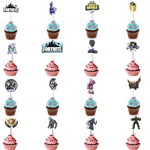 16 Pack Game Cupcake Toppers,Birthday Party Supplies Decoration for Fortnite Game Fans,Cake Toothpick Tag for Baby Shower Party Wedding New Years Festival
