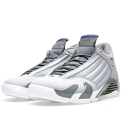 Nike Air Jordan 14 Retro, Chaussures de Sport Homme wolf grey/sprt blue-cl gry-wht