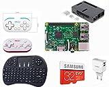 TV Ordinateur Raspberry Pi Set–streaming et 2Player Wireless Gaming Rétro Bundle (64Go/32Go) 32 Go noir