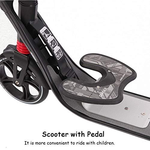 IG Faltbarer Tretroller mit Federung/Handbremse/Pedal/großen Rädern, Aluminium-Pendler-Faltroller für Erwachsene,Schwarz