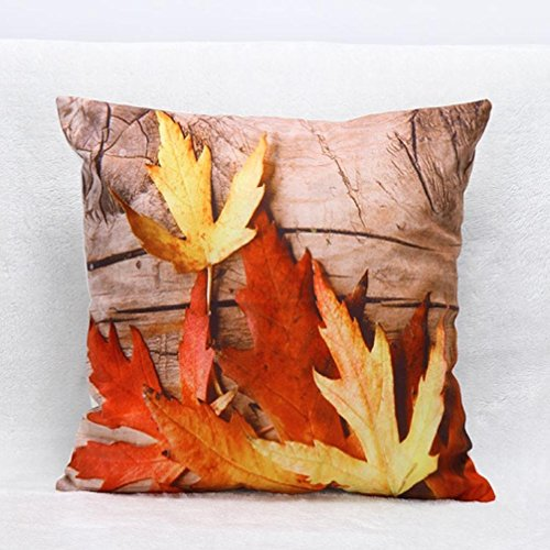 Susenstone 3D Flower Print Sofa Bed Home Decoration Festival Pillow Case Cushion Cover (Orange)