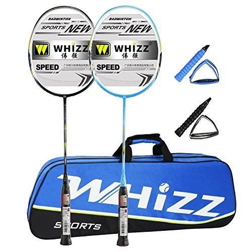 Whizz Graphit Badminton Schläger Set 2 Stk mit Tasche (Schwarz/Blau)