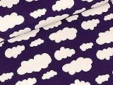 Swafing Baumwolljersey Verena Wolken weiß auf Violett