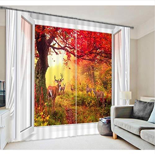 WKJHDFGB Yellow Maple Tree Shading Vorhänge Animal Print Dreidimensionale Hirsch Fotodruck 215X320Cm