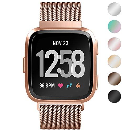 HUMENN Fitbit Versa Armband, Luxus Milanese Edelstahl Handgelenk Ersatzband Armbänder mit Starkem Magnetverschluss für Fitbit Versa Special Edition Klein Groß