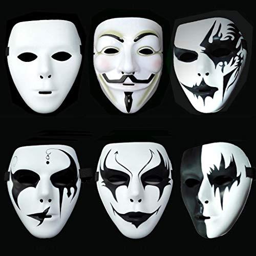 6 STÜCKE Scary White Gesichtsmaske Party Ball Maske Ghost Hip-Hop Cool Vollmaske Maskerade Mode Cosplay Maske Für Halloween Urlaub