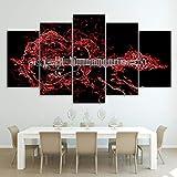mmwin Moderno HD Impreso Arte de la Pared Lienzo Fotos 5 Unidades Instrumento Musical Abstracto Guitarra Roja Poster Decoración del Hogar