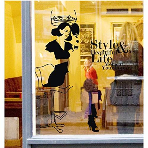 Etiqueta De La Pared Peluquería Etiqueta De La Pared Lady Hair Spa Salón De Belleza Arte De La Pared Vinilo Vinilo Peluquería Ventana De Cristal Etiqueta De Pvc Decoración 55X68 Cm