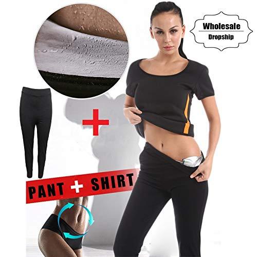 957dc3a7bf29 CNKM Camicia + Pantaloni Set per dimagrire Donna Vita Allenatore Body  Shaper Gonna in Neoprene Camicetta