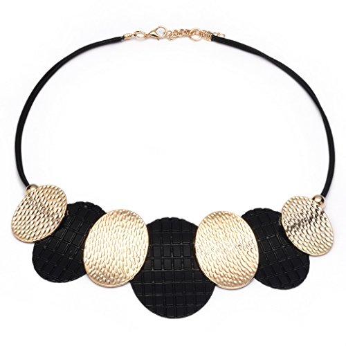 LUFA Frauen Anhänger Halskette geflochtene Ketten Legierung Perlen Choker Halsketten (Metallic Perlen Halsketten)