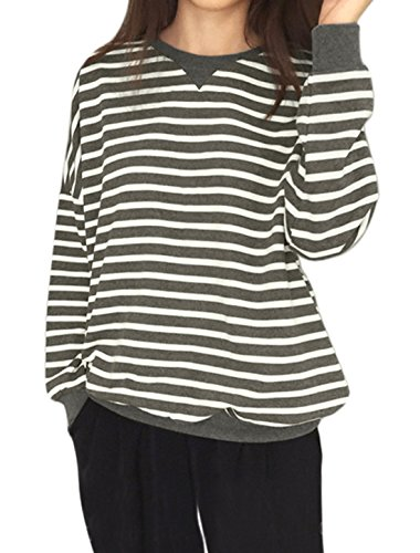 Allegra K Women Round Neck Dropped Shoulder Loose Striped Sweatshirt L Dark Grey
