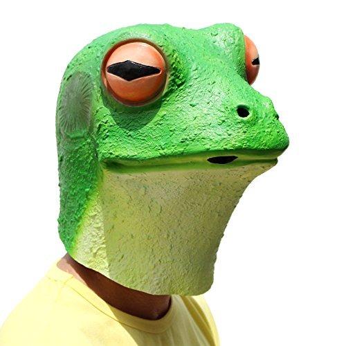 PartyCostume - Frosch Maske - Halloween Kostüm Latex Tier Den Kopf Voll Latex Maske Erwachsene Kinder -