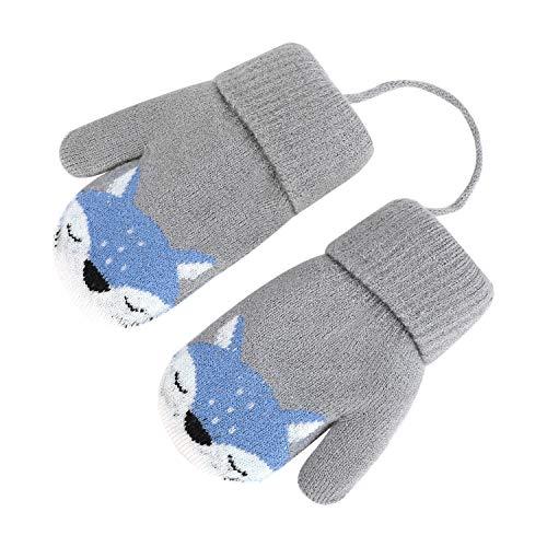 YSXY Süße Fäustlinge Baby Kleinkind Gestrickte Handschuhe für 1,2,3 Jahre Jungen Mädchen Winter Warme Strickhandschuhe mit schnur Fleece-Innenfutter