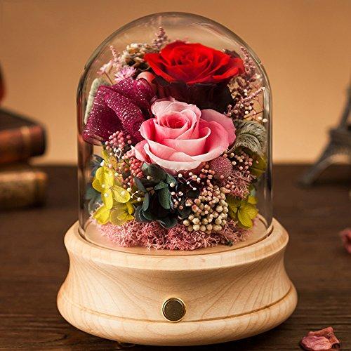 Éternelle fleur bluetooth stéréo,Ornements de verre La boîte à musique Douce rose Le jour de noël Cadeaux créatifs-E 12.5x18.5cm(5x7inch)
