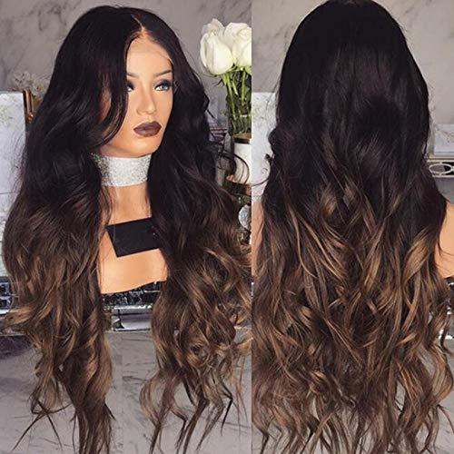 Neuf femmes Gradient Noir Cheveux longs bouclés Perruques Blond Perruques synthétiques Cheveux longs Couleurs mélangées sexy style de cheveux pour femme fête des Perruques