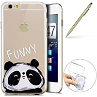 Herbests Handy Tasche für iPhone 6S 4.7 Silikon Hülle Durchsichtige Schutzhülle Crystal Clear Transparent Ultra Dünn Handyhülle Silikonhülle Kristall Klar TPU Bumper,Panda