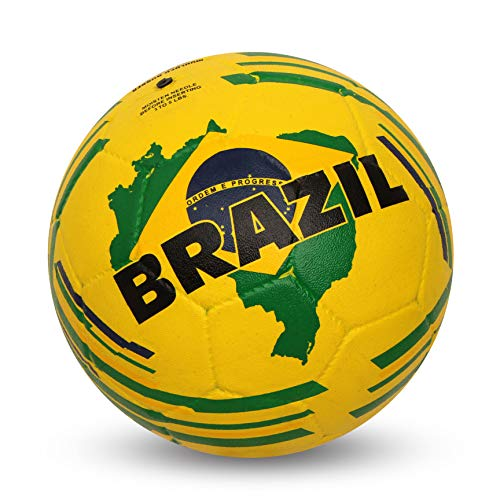 Nivia Brazil Country Color Rubber Football, Size 5  Yellow