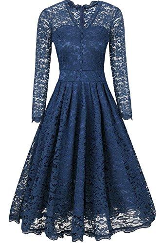 Elegant Damenkleid Spitzenkleid knielanges Sommerkleid Herbstkleid festliches Partykleid Ballkleid...