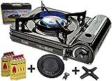 Portable Turbo Campingkocher 2,9 KW slim Gaskocher mit 8 Gaskartuschen + Grillplatte Grillaufsatz + Phönix PH-K01 Gasherdkreuz 12x12 cm + Flaschenöffner + Koffer (Farbe nach Verfügbarkeit)
