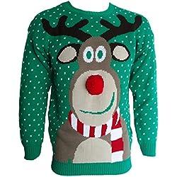 Jersey navideño 3D Blush Avenue® para hombre y mujer, con diseño de Rudolph el reno, de punto GREEN POM POM NOSE Large