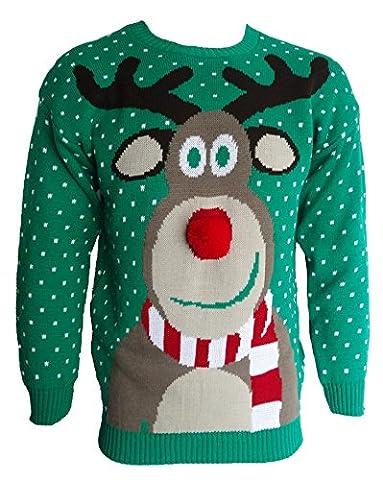 Herren Damen 3D Rudolph Rentier Elfen Weihnachten Neuheit Pullover Stricktop - GRÜN POM POM NASE, Herren, (Große Weihnachts-elfen)