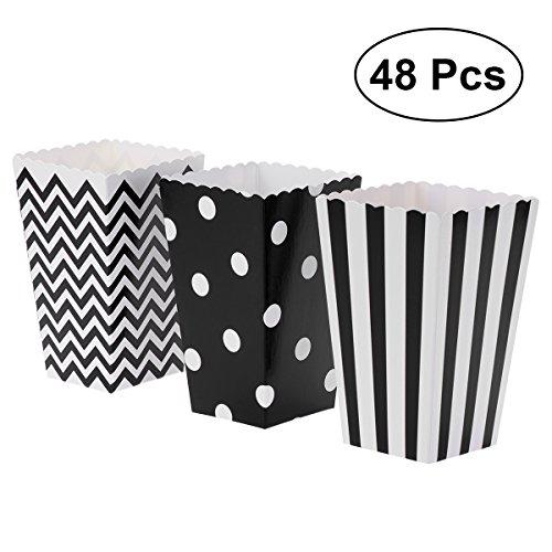 en, Papier-Süßigkeit-Kästen 48pcs für Partei-Bevorzugung (Schwarzes) (Popcorn-boxen-baby-dusche)