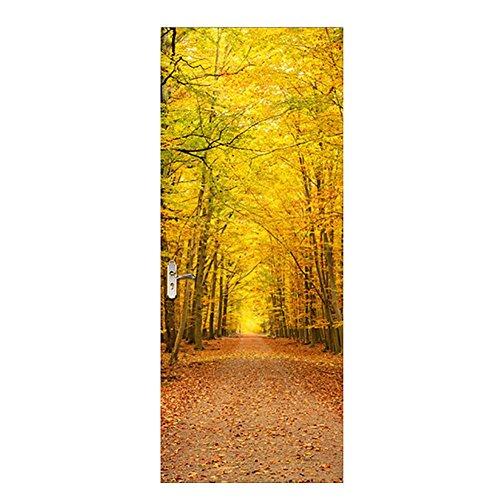 LIU-Türbild Türaufkleber Türposter Fallen Laubbäume Landschaft Tapeten Wandaufkleber Fototapete-38.5*200cm*2pcs , yellow