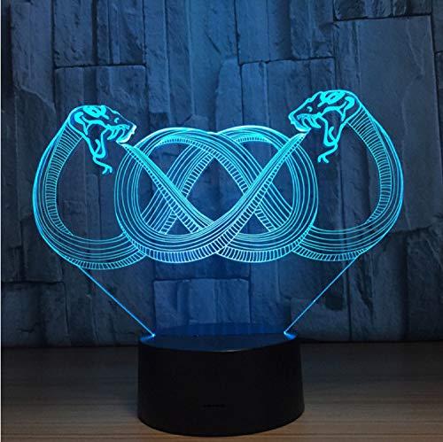 Zwei Headed Schlange 3D 7 Farbe Lampe Visuelle Led-Nachtlichter Für Kinder Touch Usb Tisch Lampara Lampe Baby Schlafen Nachtlicht