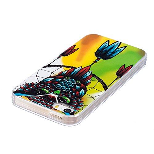ISAKEN Custodia iPhone SE - Cover iPhone 5S - Fashion Agganciabile Luminosa Cover Denso Case con LED Lampeggiante per Apple iPhone 5 5s SE Ultra Slim Sottile TPU Cover Rigida Gel Silicone Protettivo S gialla gufo