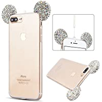iPhone 8 Plus Case, iPhone 7 Plus Cover - 3D Bling Bling Glitter iPhone 7 Plus Creative Diaomnd Case Ultra Slim Light iPhone 8 Plus Clear Transparent Cover with Cute Ears Design Flexible TPU Soft Silicone Gel Cover Case SpiritSun Luxury Rhinestone Protective Bumper [Shockproof] [Anti-Scratch] for iPhone 8 Plus / 7 Plus (5.5 inches) - Silver
