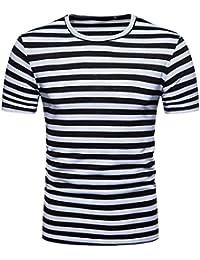 ccd454e332479 Amlaiworld Camiseta de hombre originales Camisa de manga corta para hombres  Camiseta de rayas