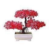 Steellwingsf Accogliente Pino Bonsai Simulazione Artificiale Vaso pianta Ornamento Home Decor scrivania Ornamento Red