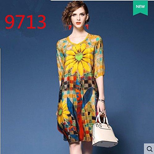 The New Spring Bright Printing Heavy Silk Dress Silk Long Skirt