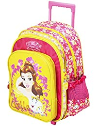 "Disney Princess Belle Pink/Yellow Light Weight Trolley School Backpack For Kids(Size - 18"" Trolley, Age - 8 Years..."