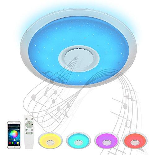 Bluetooth Deckenleuchte Umgebungslicht 24W Ø 50CM mit Fernbedienung APP-Steuerung und Bluetooth Lautsprecher Klar Hohes und niedriges Volumen JD840Y-24W-RGB