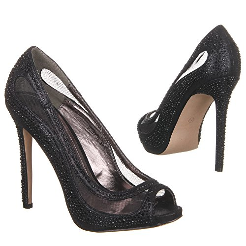 Damen Schuhe Pumps High Heels Peep Toe Ital-Design Schwarz