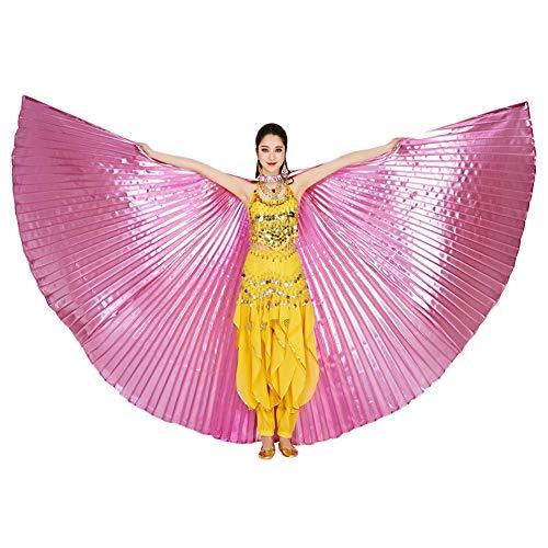 ZZM Bauchtanz Wings Festival Kostüm ägyptische Engelsflügel Karneval Performance Bekleidung Damen Kleider Umhänge mit Sticks/Stangen für Party Christmas Performance (Pink)