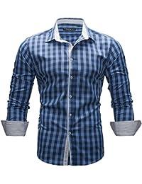 MERISH Slim Fit Hommes Chemise à manches longues Coup d'oeil plaid adapté pour toutes les occasions, Modell 144