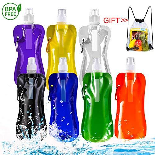 Airrioal Faltbare Wasserflasche Trinkbeutel,7 Stück Wiederverwendbare tragbare Falten Wasser Tasche für Outdoor-Sportarten Reiten Wandern, 7 Farben(480 ml)