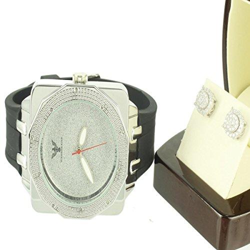 Real Bisel de diamantes Oro blanco de 14K acabado banda de silicona hombres reloj pendientes Set