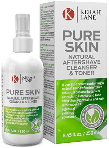 Kerah Lane Pure Skin - Toner & nettoyant naturel pour supprimer les poils incarnés, l'acné, les bosses dues au rasage pour les femmes et les hommes. Utiliser après le rasage, l'épilation et le rasage ou comme sollution générale de soin pour la peau 250mL