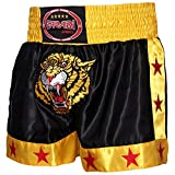 Muay Thai Kick Boxing Short Tiger MMA kickboxing cage fighting training and professional fighting shorts trunks (Black Yellow, Large)
