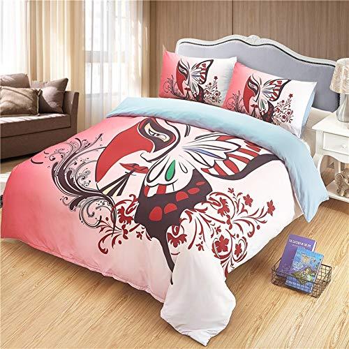 TQTOWN Kunst Gesicht mit Blume Bettwäsche Tröster Set bunte Mikrofaser Bettbezug Set mit Kissenbezug rote chinesische ethnische Bettwäsche Quilt Bettwäsche Queen-Set ( Size : 260X230cm )