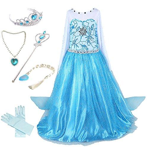 Anbelarui Mädchen Prinzessin Kleid Cosplay Kostüm Set aus Diadem, Handschuhe, Zauberstab,Perücke,Halskette (110 (Körpergröße 110cm), #01 Kleid&Zubehör) (Prinzessinnen Kleid)