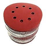 Dischi Carta Abrasiva 125 mm: ogni 10 dischi una grana diversa: 40/60/80/120/180/240. Pacco di 60 dischi in tutto 8 fori per levigatrice orbitale