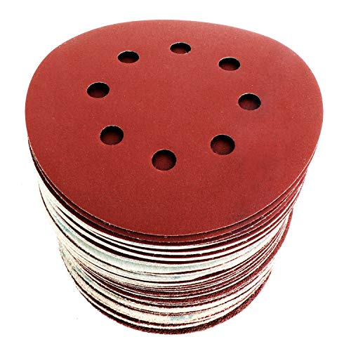 Discos de Lija Velcro 125 mm Papel abrasivo autoadhesivos. 60pzs: Grano cada 10 x 40/60/80/120/180/240 8 agujeros para Lijadora excéntrica