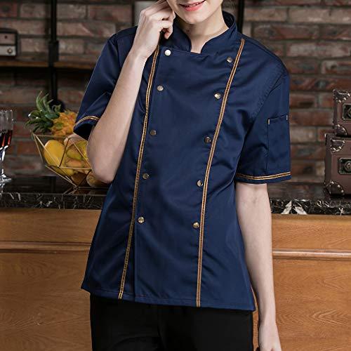 F Fityle Kurzarm Kochjacke Bäckerjacke Chef Jacke Restaurant Koch Arbeitskleidung Gastro Kochbekleidung für Männer Frauen - Schwarz, L - 3